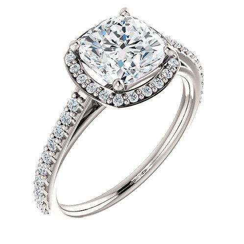 14K white gold diamond engagement ring with diamond halo and cushion shaped diamond center stone. Cushion diamond engagement.