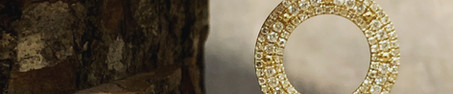 14K Yellow Gold and 0.45cttw Pave Diamond Circle Pendant