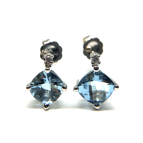 14K white gold, cushion cut checkerboard faceted aquamarine and diamond stud earrings. March birthstone earrings. Aquamarine.