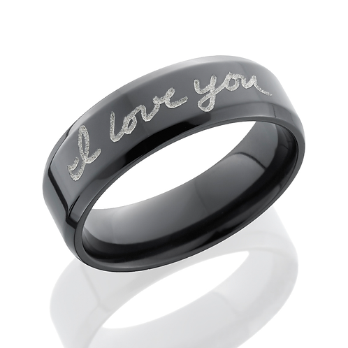 "Men's wedding band with custom handwriting engraved on it. Message shows ""I Love you."" Personalize customize ring men's band."
