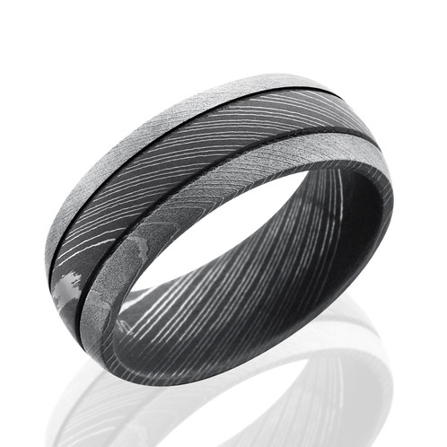 mens damascus steel wedding band with acid washed and beadblast finishes domed band - Damascus Wedding Ring