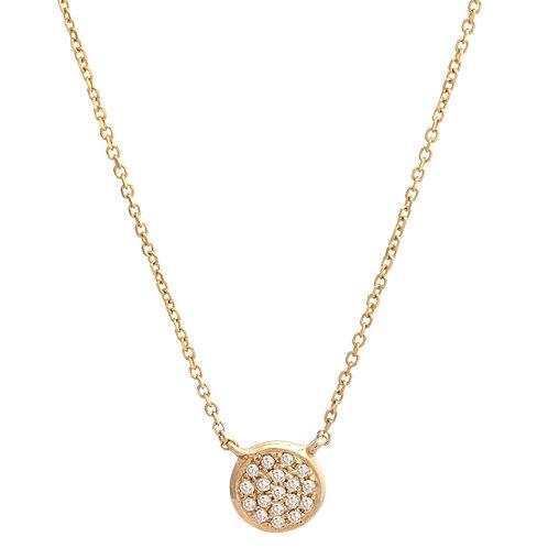 14K yellow gold diamond circle pendant. Petite circle pendant. Tiny circle pendant. Round tiny necklace in yellow gold.