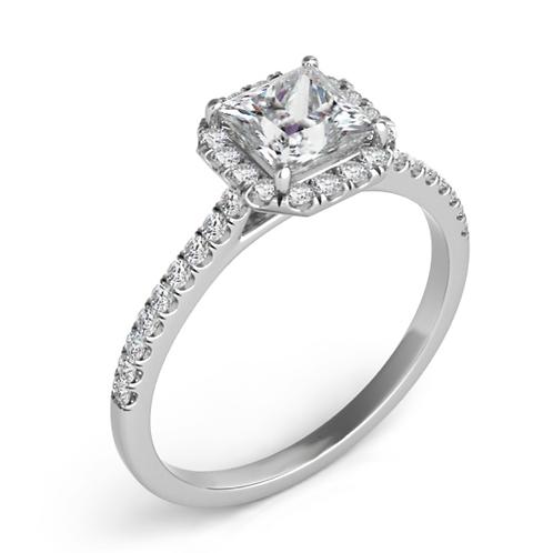 14K Gold and .31cttw Diamond Petite Princess Cut Halo Engagement Ring