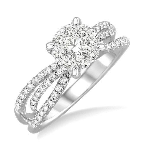 "14K white gold ""WOW!"" Diamond engagement ring. Criss-cross style engagement ring. Woven engagement ring. White gold ring."