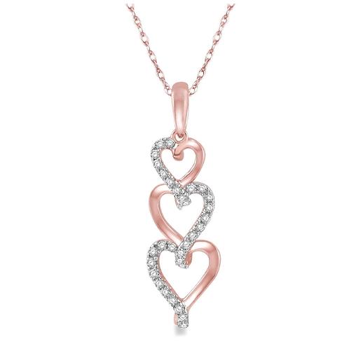 10K rose gold and diamond triple heart pendant. Diamond heart pendant. Heart infinity pendant. Diamond necklace. Diamonds.