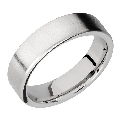 Men's flat satin cobalt chrome wedding band with flat polished edges. Men's flat wedding band. Men's classic wedding ring.
