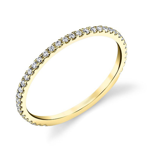 14K yellow gold diamond stackable band. Stackable ring. Stacking ring. Diamond stacking ring. Yellow gold stacking ring.