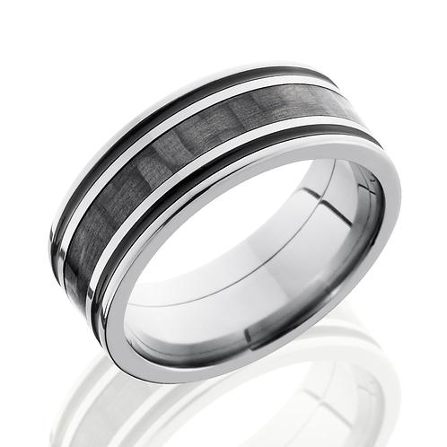 Men's titanium wedding band with black carbon fiber inlay and black antiqued stripes. Black men's ring. Men's carbon fiber.