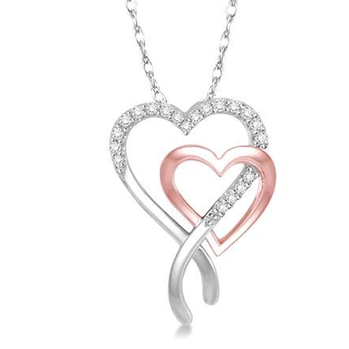 Double heart pendant. Rose and white gold heart necklace. White gold chain. Two tone necklace.