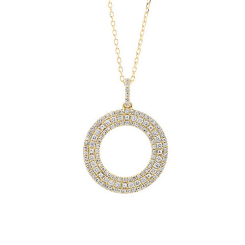 14K yellow gold pave diamond circle pendant. Circle necklace. Ring pendant. Yellow gold circle pendant. 14K yellow gold chain