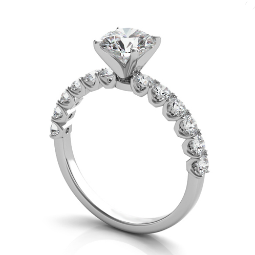 14K white gold prong set diamond accented engagement ring. Prong set diamond accented engagement ring. White gold diamonds.