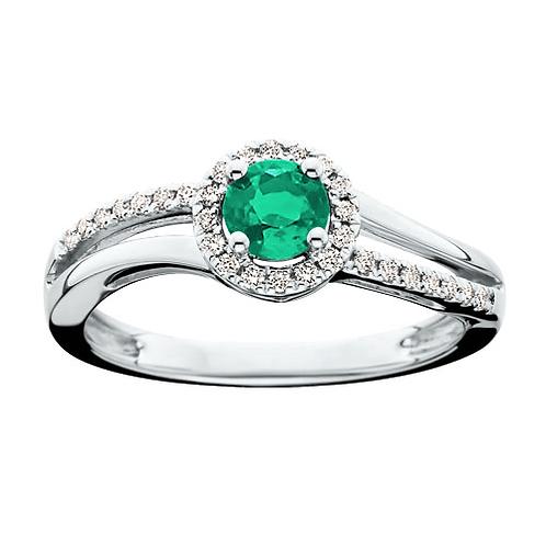 14K white gold emerald and diamond ring. Emerald halo ring. Emerald bypass ring. Split band ring. White gold emerald halo.