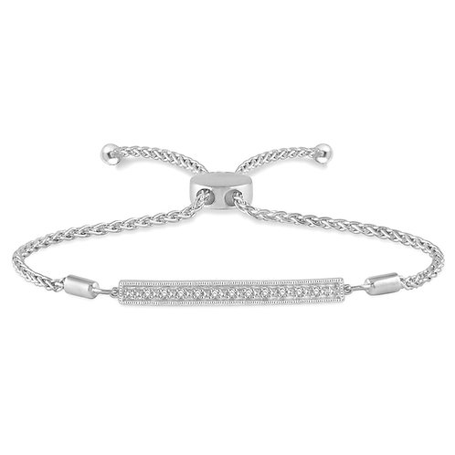 Sterling silver adjustable bracelet with diamonds set in bar. Bar bracelet. Row bracelet. Sterling silver bracelet. Diamonds.