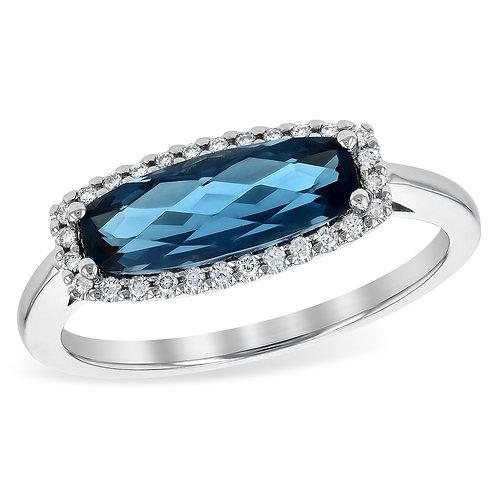 14K white gold diamond and London blue topaz ring. Blue topaz ring. Unique blue topaz ring. Bar ring. Bar stone ring. Blue.
