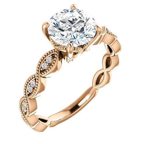 14K rose gold diamond engagement ring. Vintage inspired diamond engagement ring. Millgrain engagement ring. Tiffany inspired.