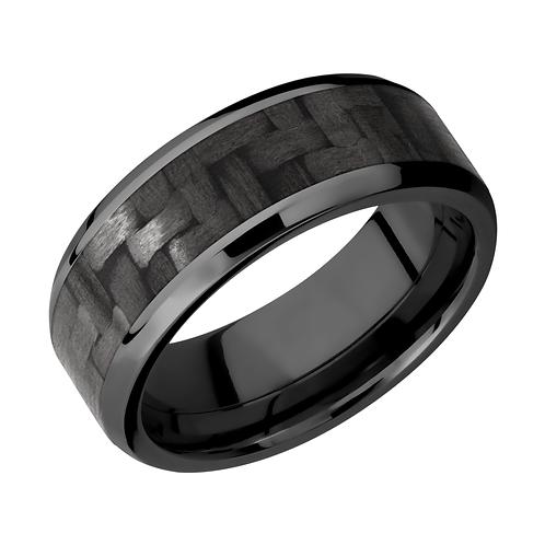 Men's black zirconium wedding band with black carbon fiber inlay and polished edges. Men's black ring. Black ring. Men's ring