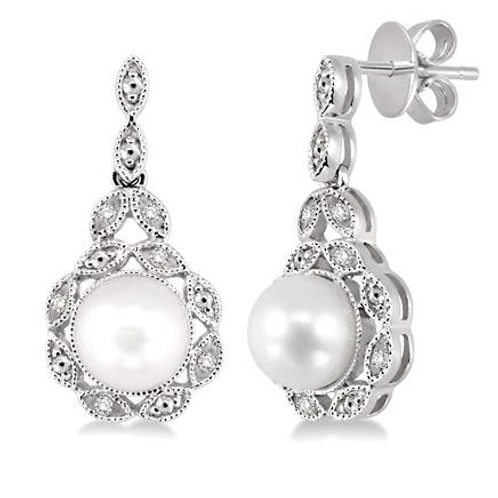 Sterling silver freshwater pearl and diamond drop earrings. Pearl earrings. Freshwater pearl earrings. Sterling silver.