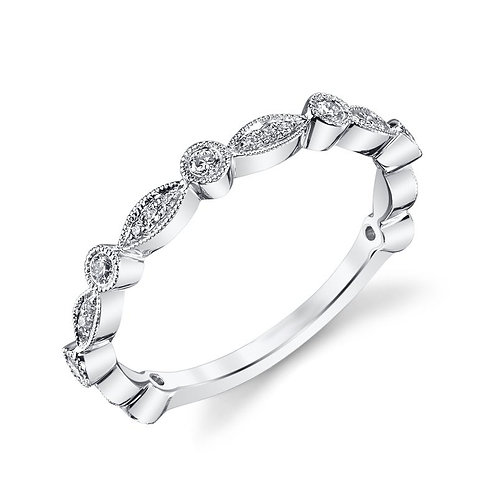 14K white gold stackable ring. Vintage inspired millgrain detailed stackable ring. White gold ring. Diamond ring. Vintage.
