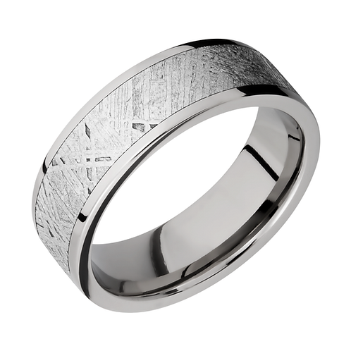 Men's titanium wedding band with gibeon meteorite inlay. Men's titanium wedding band. Men's titanium ring. Titanium meteorite