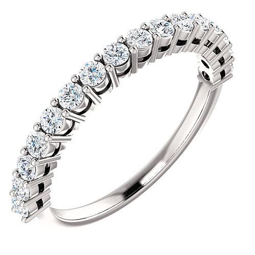 14K white gold diamond anniversary band. White gold diamond band. White gold diamond wedding band. White gold shared prong.