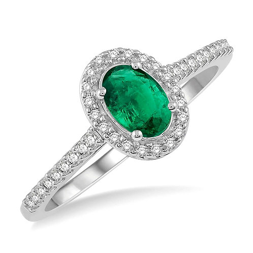 10K white gold emerald and diamond halo ring. Emerald ring with diamond halo and diamond collar. Diamond and emerald ring.