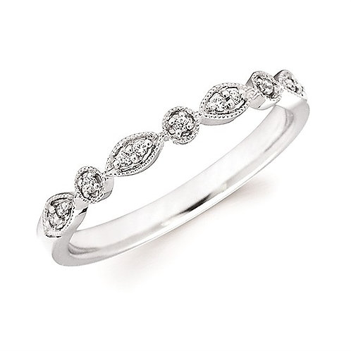 14K white gold diamond stackable ring with vintage inspired millgrain accented settings. Stackable band. Diamond ring. White.
