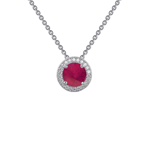 Platinum plated sterling silver pendant with simulated ruby center and simulated diamond halo. Ruby and diamond halo necklace