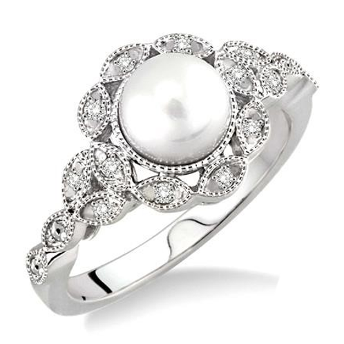 Freshwater pearl ring. Natural pearl ring. Pearl and diamond ring. SIlver ring. Sterling silver ring.
