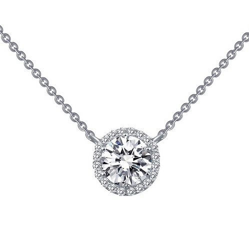 Sterling silver pendant with simulated diamonds. Diamond halo pendant. Crystal halo pendant. CZ pendant. Round halo pendant.
