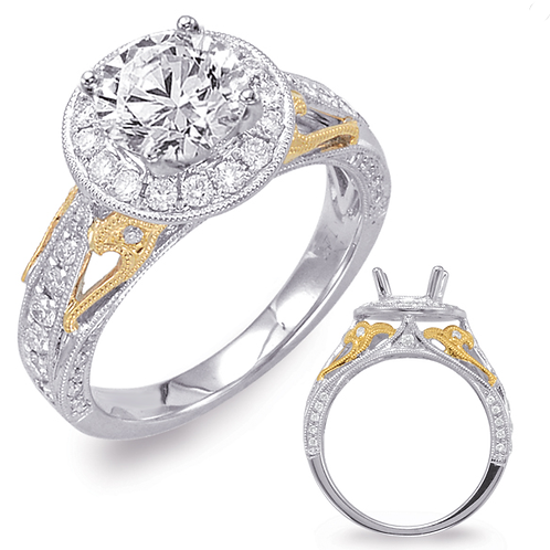 14K White gold engagement ring with 14K yellow gold accents. Millgrain and filagree vintage inspired details. Round diamond.