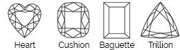 Thurber Jewelers Diamond Shape Chart - Heart Shape - Cushion Cut - Baguette - Trillion