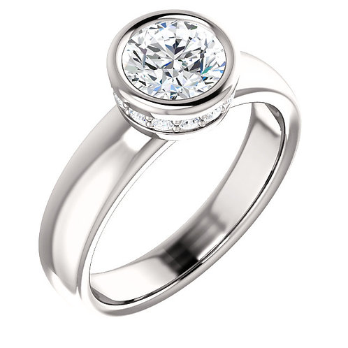 14K white gold diamond engagement ring with diamond halo collar. Bezel set diamond engagement ring with halo collar. White.