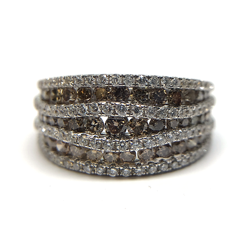 White gold ring with chocolate diamonds. White gold ring with wavy rows of white and champagne diamonds. Right hand ring.