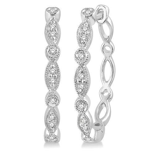 10K white gold and 0.15cttw diamond huggie hoop earrings with mixed settings. Prong and bezel set earrings. Diamond hoops.
