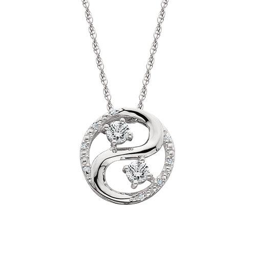 14K white gold diamond pendant. Two stone diamond pendant. Forever us pendant. White gold diamond necklace. Two stone diamond