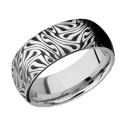 Laser etched cobalt chrome ring with M.C. Escher pattern. Artwork ring. Pattern ring. Laser etched ring. Engraved ring. Men's