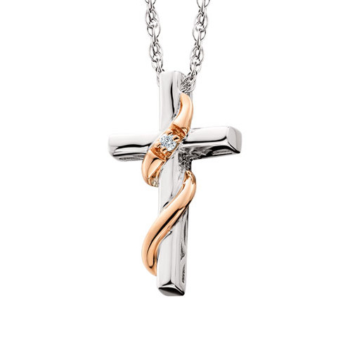 Rose gold plated sterling silver cross pendant with 01ct diamond accent sterling silver cross pendant with rose gold ribbon accent and diamond diamond cross necklace aloadofball Images