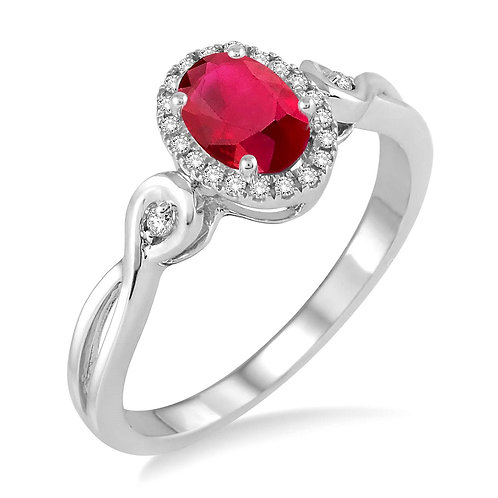 Oval ruby and diamond infinity inspired ring. Infinity ring with diamonds on band and diamond halo. Ruby center stone. Ruby.