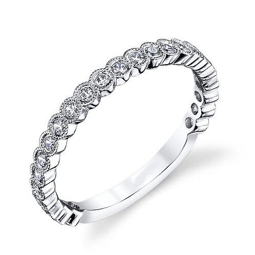 14K white gold diamond band. Bezel set diamond band. Antique vintage inspired wedding band with bezel settings. Bezel set.