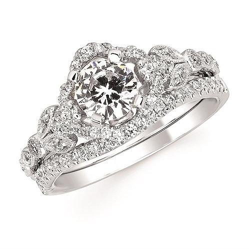 Vintage inspired engagement ring. White gold engagement ring. Diamond engagement ring. Nature inspired engagement ring.