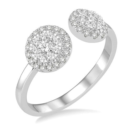 """14K white gold two stone ring with open top. """"WOW!"""" diamond two stone ring. White gold two stone ring. 2-stone 2 stone ring."""