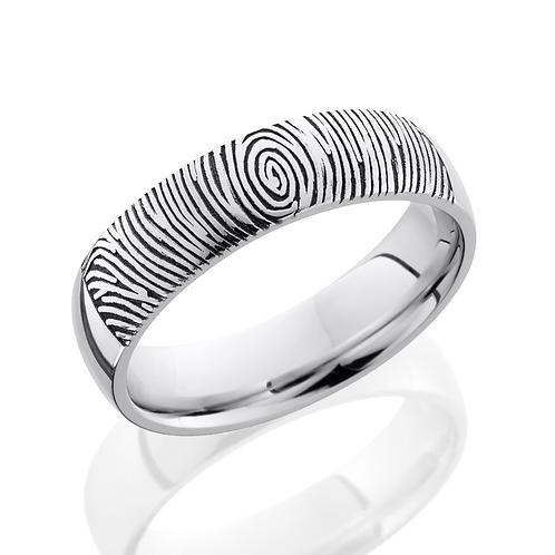 Cobalt chrome men's wedding band with laser etched fingerprint. Custom fingerprint ring. Fingerprint men's ring. Engraved.