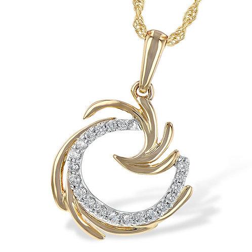 14K yellow gold diamond circle pendant with prong set diamonds. Spiral pendant. Yellow gold diamond necklace. Diamond pendant