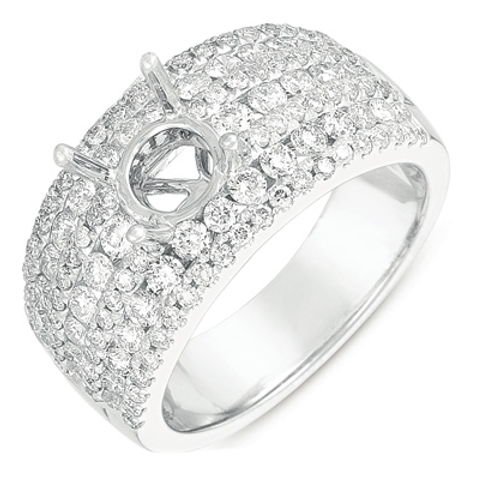 14K White gold engagement ring with micro pave diamonds. White gold diamond ring. Diamond engagement ring.