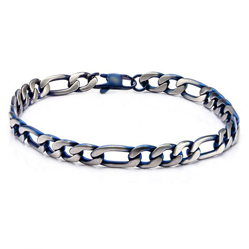 Satin finished blue plated steel figaro chain bracelet with clasp closure. Men's steel bracelet. Steel bracelet with blue.