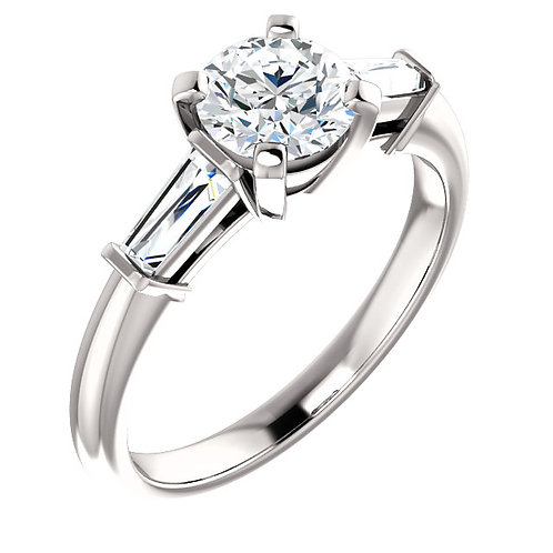 14K white gold diamond engagement ring with baguette accent stones. Tapered baguette engagement ring. Accented solitaire ring