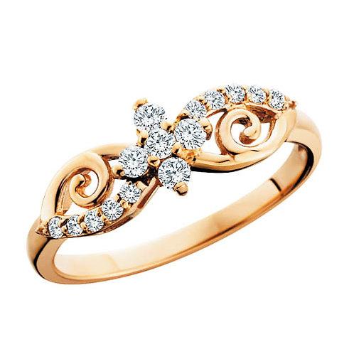 10K rose gold diamond ring. Bypass style vintage inspired diamond ring in rose gold. Rose gold diamond band. Vintage diamond.