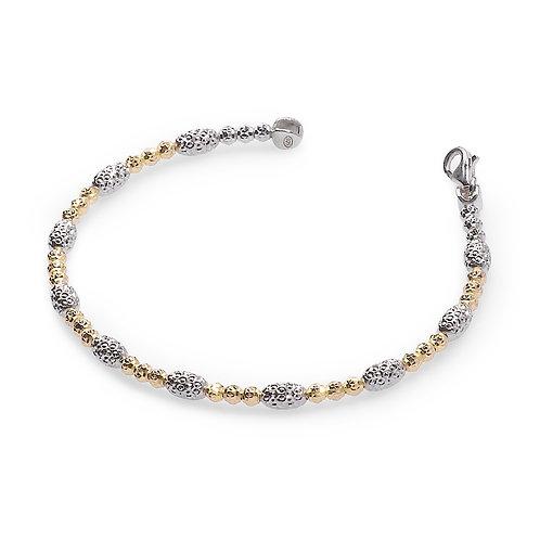 18K yellow gold and platinum plated sterling silver disco ball bracelet. Italian bracelet. Italian made chain bracelet.