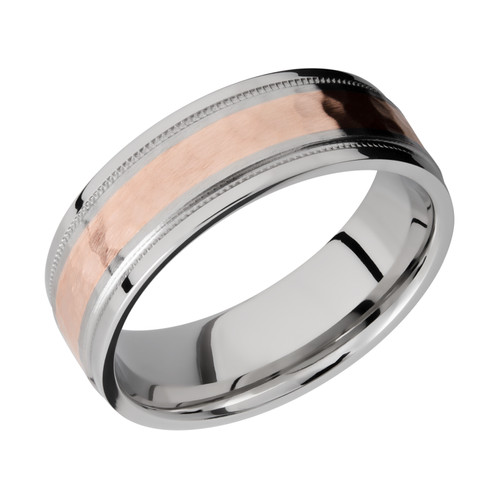 Cobalt Chrome Mens Wedding Band With 14K Rose Gold Inlay and