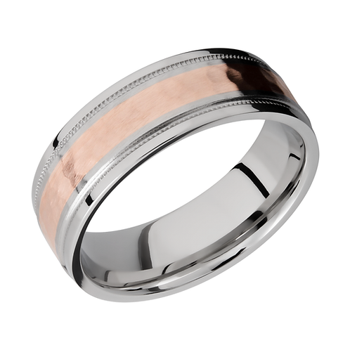 Cobalt chrome men's wedding ring with rose gold inlay. 14K rose gold. Two tone men's ring. Gentleman's ring. Gentlemen's ring